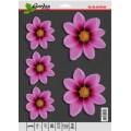 SAMOLEPÍCÍ DEKORY květy růžové 2ks 14x14cm 3ks 9x9cm 1/09315