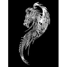 Samolepicí dekor niklovaný drak stříbrný 1/06204