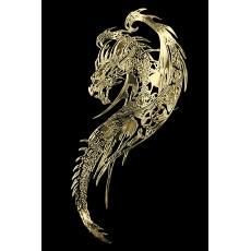 Samolepicí dekor niklovaný drak zlatý 1/06205