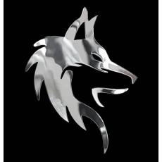Samolepicí dekor niklovaný hlava vlka 1/06243
